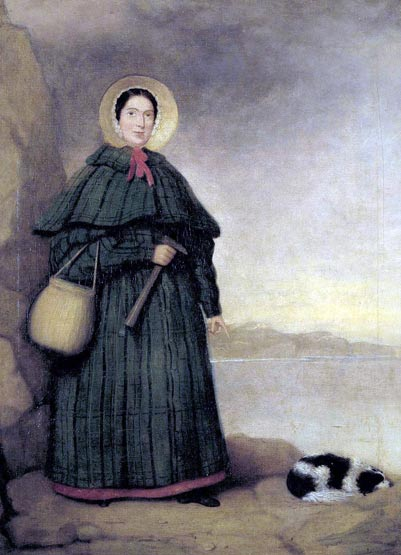 Portrait of Mary Anning, English fossil collector and paleontologist.