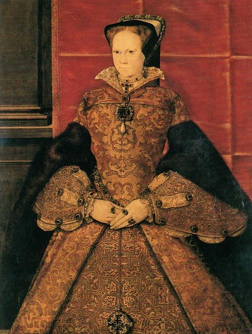 Portrait of Mary I of England, oil on oak panel painted in 1554 by Hans Eworth