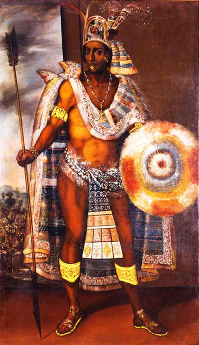 Portrait of Moctezuma by Antonio Rodriguez. Oil on canvas 1680-97. (public domain)