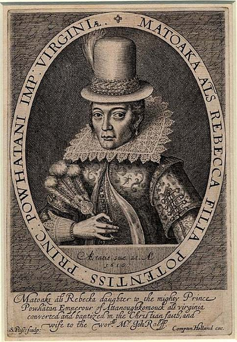 Portrait of Pocahontas, wearing a tall hat, and seen at half-length. (1616) By Simon van de Passe.