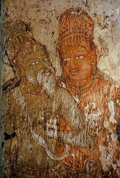 Portrait of Rajaraja Chola and his guru Karuvurar at Brihadeeswarar Temple.
