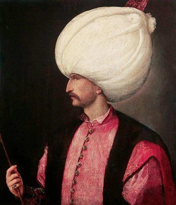 Portrait of Suleiman I, the tenth and longest reigning Sultan of the Ottoman Empire. (1530) By Titian.