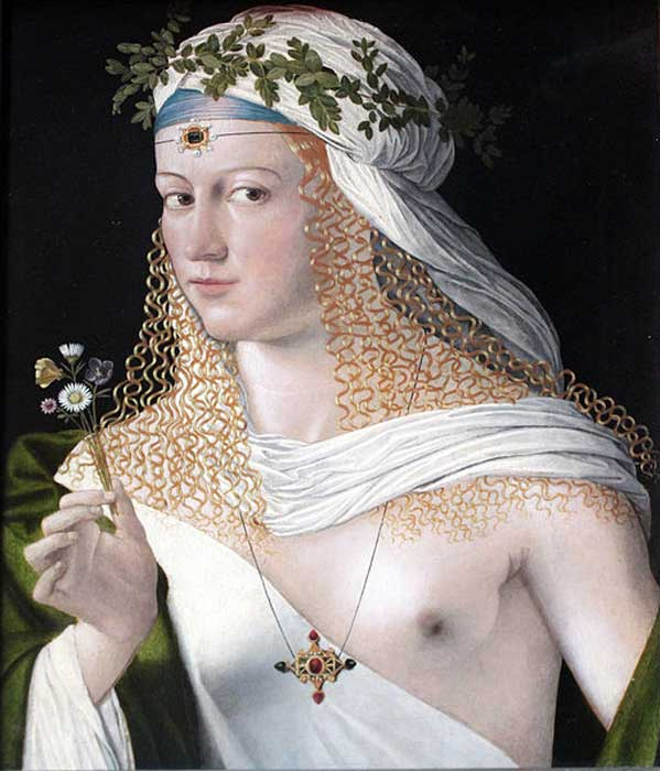 Portrait of a Woman by Bartolomeo Veneto, traditionally assumed to be Lucrezia Borgia – an infamous femme fatale.