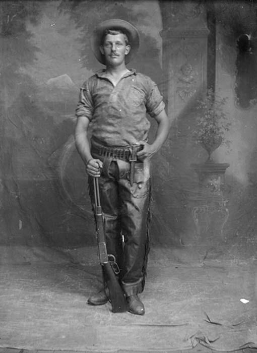 Portrait of a cowboy or a scout, Bowden, Alberta.
