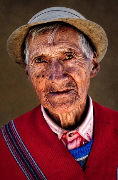 Portrait of an old Quichuan man from Ecuador.