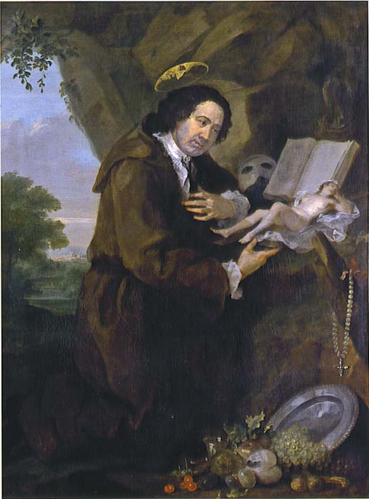 Portrait of Sir Francis Dashwood, 11th Baron le Despencer (1708 – 1781) by William Hogarth. (Public Domain) The painting is a parody of Renaissance images of Francis of Assisi. The Bible has been replaced by a copy of the erotic novel 'Elegantiae Latini sermonis,' and the profile of Dashwood's friend Lord Sandwich peers from the halo.