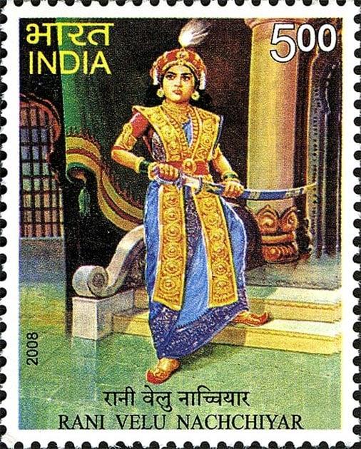 Postage stamp depicting Indian warrior queen Velu Nachchiyar. (GODL)