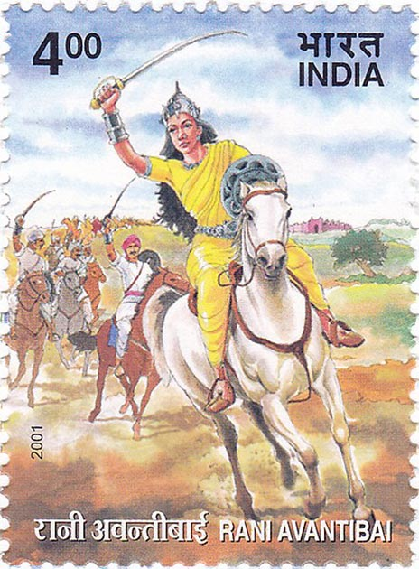 Postage stamp depicting Rani Avanti bai leading her army. (GODL)