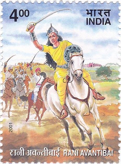 Postage stamp depicting Rani Avanti bai leading her army. (GODL)