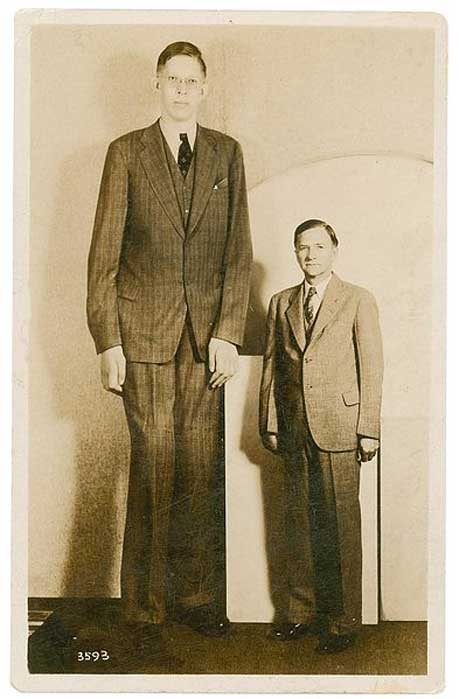 Postcard of Robert Wadlow with his father.