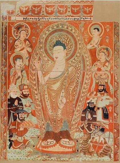 Praṇidhi scene, Temple Number 9 ,(9th Century) Bezeklik Caves, Motou Valley, China. (Wikimedia Commons)