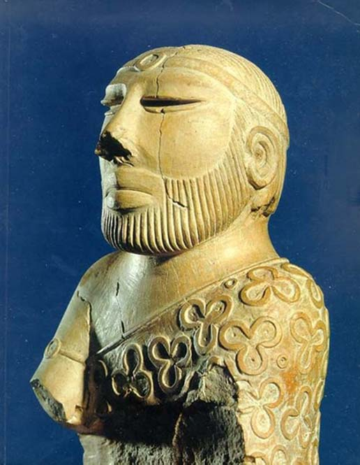 "So-called ""Priest King"" statue, Mohenjo-daro, late Mature Harappan period, National Museum, Karachi, Pakistan. (CC BY-SA 1.0)"