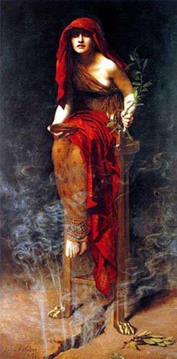 """Priestess of Delphi"", by John Collier."