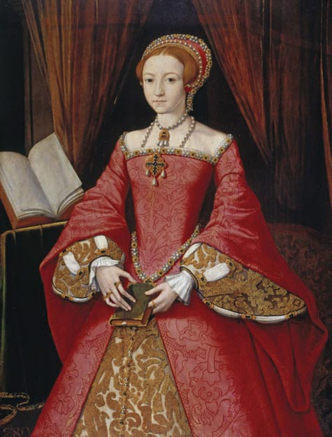 Princess Elizabeth Tudor, the future Elizabeth I, by William Scrots (1546). Mary, despite considerable ideological differences with her sister, respected her and named her as successor to the throne.
