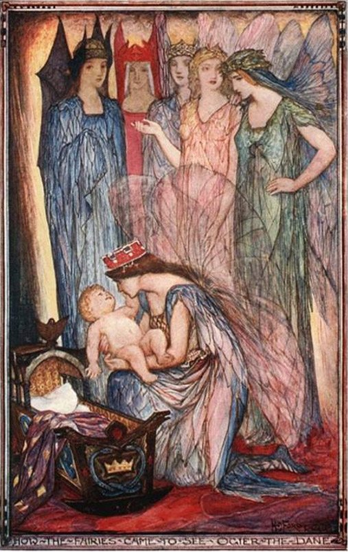 Princess singing lullabies, Illustration by H.J. Ford, 1921
