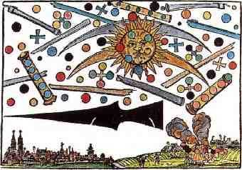 Prodigious event over Nuremberg, Germany on April 14, 1561. Hans Glaser woodcut (1566).  While this is most often presented as a historical UFO sighting, scientists maintain these types of images are representations of Aurora borealis or Sun dogs (Parhelion). (Public Domain).