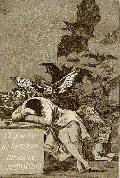'The Sleep of Reason Produces Monsters' (1799) By Francisco de Goya.