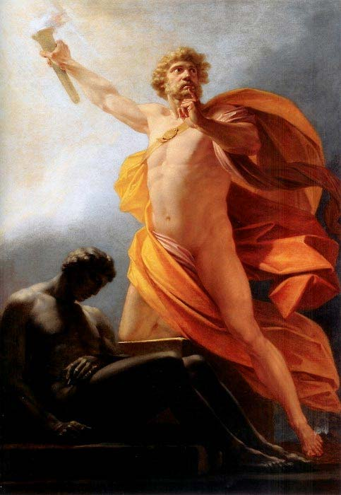 Prometheus Brings Fire to Mankind, Heinrich Fueger, 1817. (Public Domain)
