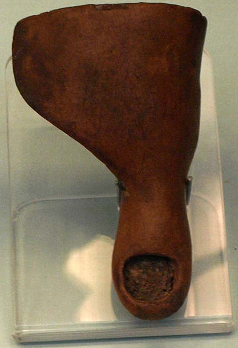 Prosthetic toe made of cartonnage, found on the foot of a mummy from the Third Intermediate period (circa 1070-664 BC).