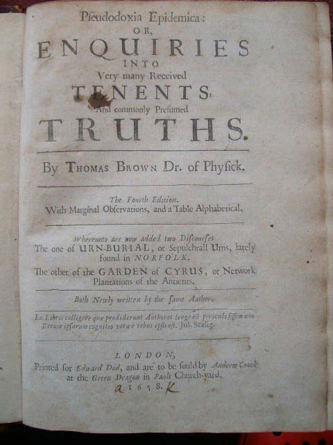 Title-page of 1658 4th edition of Pseudodoxia Epidemica.