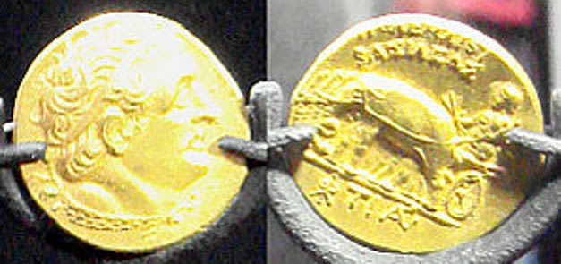 Ptolemaic coins found at the submerged site of Thonis-Heracleion, Alexandria, Egypt (Wikimedia Commons)