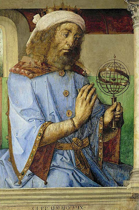 Ptolemy with an armillary sphere model. (1476) Joos van Ghent and Pedro Berruguete.