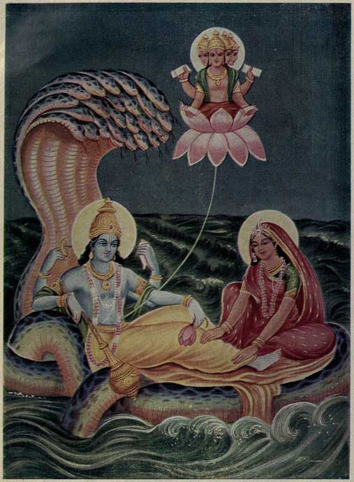 In Puranic mythology, Brahma emerges from a lotus risen from Vishnu's navel while he rests on the serpent Shesha.
