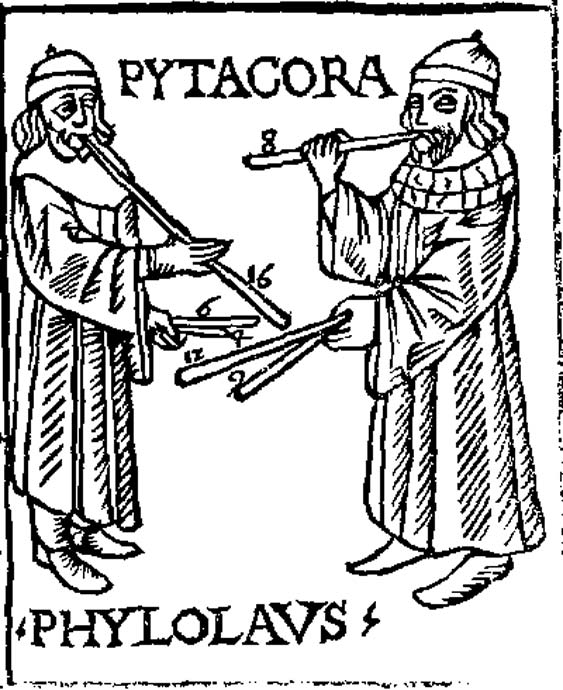 Pythagoras and Philolaus experimenting with musical pipes. From Theorica musicae by Franchino Gaffurio, 1492. (Public Domain)