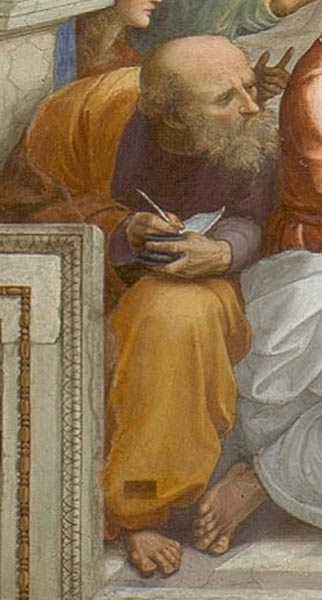 Detail of Raphael's painting The School of Athens, 1510–1511. This could be a representation of Anaximander leaning towards Pythagoras on his left.