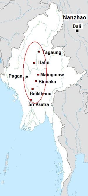 Pyu city-states circa 8th century AD.