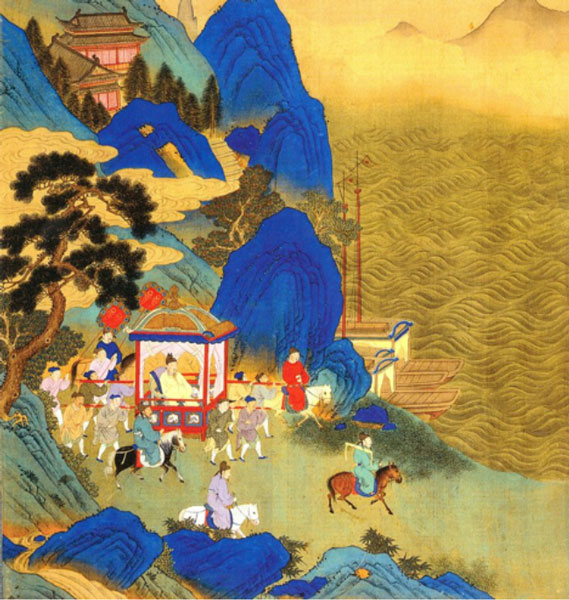 Qin Shi Huang's imperial tour across his empire. Depiction in an 18th century album.