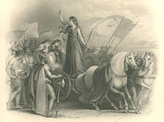 Queen Boudicca summoned troops from her chariot