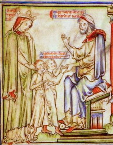 Queen Emma and her sons being received by Duke Richard II of Normandy