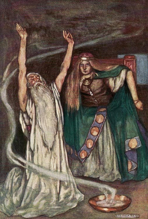Queen Maeve and the Druid.