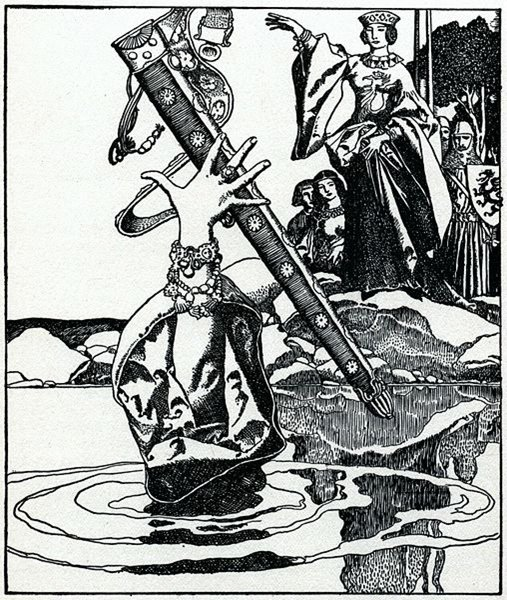 Queen Morgana Loses Excalibur His Sheath, Howard Pyle's illustration from The Story of King Arthur and His Knights. (1903)