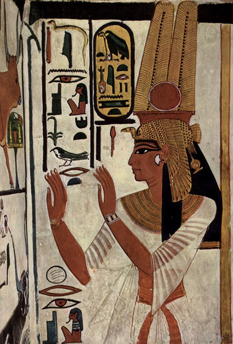 Tomb wall depicting Queen Nefertari, the great royal wife of Pharaoh Rameses II.