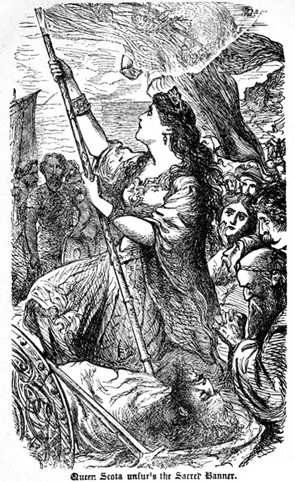 """Queen Scotia unfurls the sacred banner"", illustration from an 1867 book of Irish history. (Nicknack009 / Public Domain)"