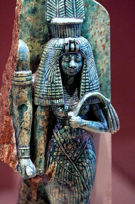 Queen Tiye, whose husband, Amenhotep III, may have been depicted to her right in this broken statue