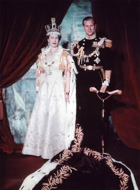 Queen Elizabeth II and Prince Philip, Duke of Edinburgh. Coronation portrait, June 1953, London, England. (Public Domain)