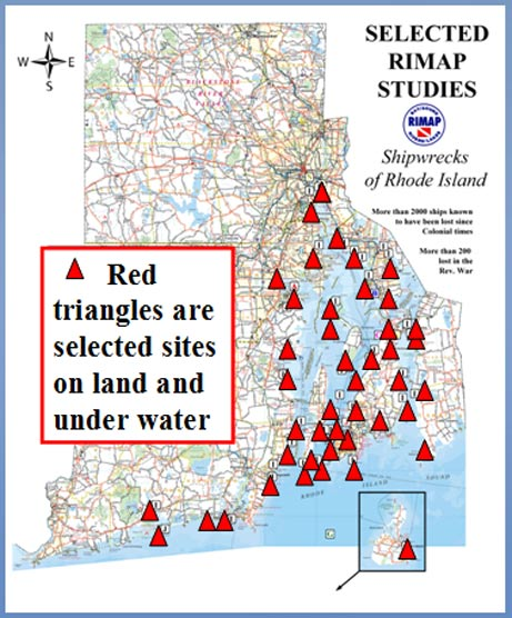 Selected sites of RIMAP studies – Shipwrecks of Rhode Island