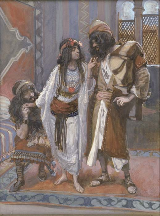 Rahab (center) in James Tissot's The Harlot of Jericho and the Two Spies. Between circa 1896 and circa 1902