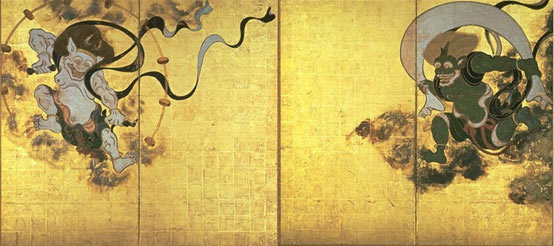 Raijin is shown on the left and Fujin on the right.