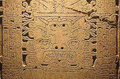 A detail of the Raimondi Stele, from the Chavín culture in Peru.