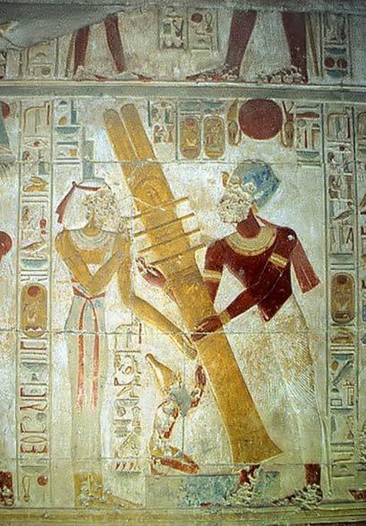 Raising the Djed pillar, Temple of Seti I, Abydos