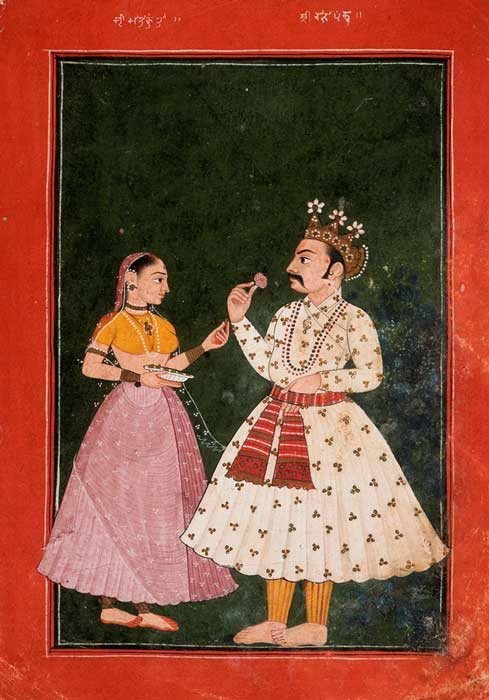 Raja Pandu and Kunti, circa 1680.