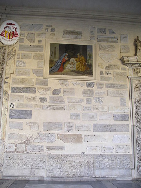 Re-used reliefs as decoration in Santa Maria in Trastevere, Rome.