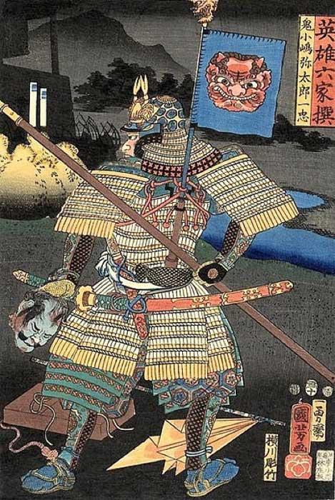 Rear view of Onikojima Yatarô Kazutada in armor with a sashimono, a woodblock print by Utagawa Kuniyoshi from the series, Six Select Heroes. (Public Domain)
