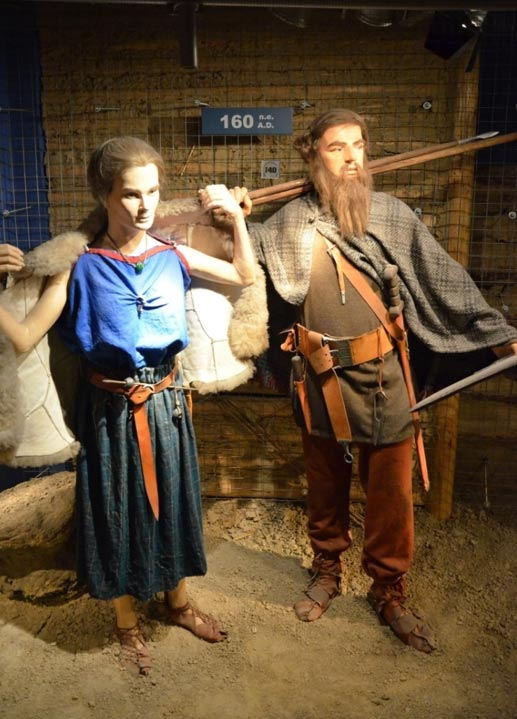 Reconstruction of Vandal people in the Archaeological Museum of Kraków, Poland