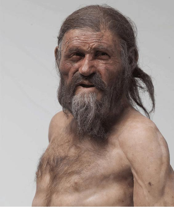 Reconstruction of Ötzi the Iceman by Kennis. South Tyrol Museum of Archaeology.