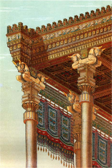 Reconstruction of the Apadana's roof. (Pentocelo~commonswiki / Public Domain)
